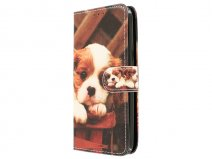 Puppy Dog Bookcase - Samsung Galaxy J3 2016 hoesje