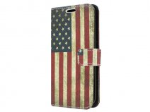Vintage USA Flag Book Case Hoesje voor Samsung Galaxy S6 Edge