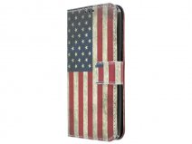 Vintage USA Flag Bookcase - Samsung Galaxy S7 hoesje