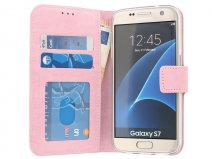 Wallet Book Case - Samsung Galaxy S7 hoesje (Roze)