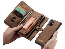 CaseMe 2in1 Wallet Ritsvak Case Bruin - Samsung Galaxy A51 Hoesje