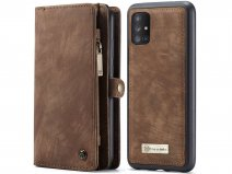 CaseMe 2in1 Wallet Ritsvak Case Bruin - Samsung Galaxy A71 Hoesje