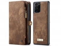 CaseMe 2in1 Wallet Ritsvak Case Bruin - Galaxy Note 20 Ultra Hoesje