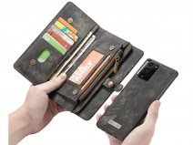 CaseMe 2in1 Wallet Ritsvak Case Zwart - Galaxy Note 20 Ultra Hoesje