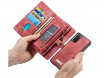 CaseMe 2in1 Wallet Ritsvak Case Rood - Samsung Galaxy S20 Hoesje
