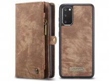 CaseMe 2in1 Wallet Ritsvak Case Bruin - Samsung Galaxy S20+ Hoesje