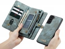 CaseMe 2in1 Wallet Ritsvak Case Blauw - Samsung Galaxy S21 Hoesje