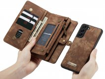 CaseMe 2in1 Wallet Ritsvak Case Bruin - Samsung Galaxy S21 Hoesje