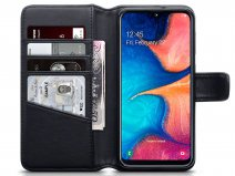 CaseBoutique Leather Wallet Zwart Leer - Galaxy A20e hoesje