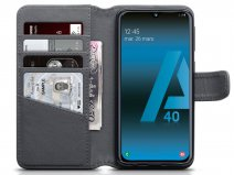 CaseBoutique Leather Wallet Grijs Leer - Galaxy A40 hoesje