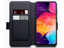 CaseBoutique Slim Wallet Case Zwart Leer - Galaxy A50 hoesje