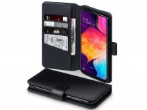 CaseBoutique Wallet Case Zwart Leer - Galaxy A50 hoesje