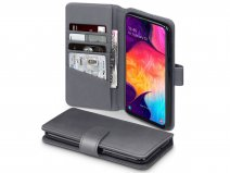 CaseBoutique Wallet Case Grijs Leer - Galaxy A50 hoesje