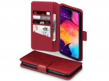 CaseBoutique Wallet Case Rood Leer - Galaxy A50 hoesje
