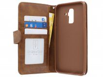 Zipper Wallet Case Bruin - Samsung Galaxy A6+ hoesje