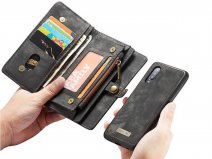 CaseMe 2in1 Wallet Ritsvak Case Zwart - Samsung Galaxy A70 Hoesje