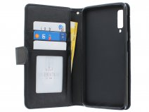 Zipper Book Case Zwart - Samsung Galaxy A7 2018 hoesje