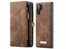 CaseMe 2in1 Wallet Ritsvak Case Bruin - Galaxy Note 10+ Hoesje