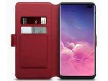 CaseBoutique Wallet Case Rood Leer - Galaxy S10+ hoesje