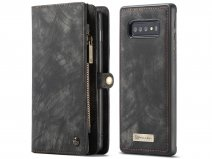 CaseMe 2in1 Wallet Ritsvak Case Zwart - Samsung Galaxy S10+ Hoesje