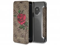 Guess Rose Bookcase Bruin - Samsung Galaxy S9 hoesje
