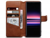 CaseBoutique Leather Wallet Case Cognac - Sony Xperia 5 hoesje