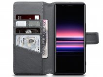 CaseBoutique Leather Wallet Case Grijs - Sony Xperia 5 hoesje