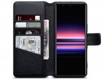 CaseBoutique Leather Wallet Case Zwart - Sony Xperia 5 hoesje
