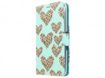 Leopard Hearts Book Case Hoesje voor Sony Xperia E4
