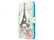 Retro Paris Book Case Hoesje voor Sony Xperia E4