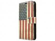 Vintage USA Flag Book Case Hoesje voor Sony Xperia E4