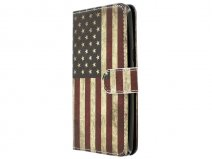 Vintage USA Flag Bookcase - Sony Xperia M5 hoesje