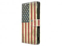 Vintage USA Flag Book Case Hoesje voor Sony Xperia Z3 Plus
