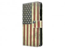 Vintage USA Flag Wallet Case - Honor 3C hoesje
