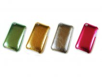 Glossy Leather Back Case Hoes voor iPhone 3G/3GS