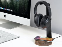 Oakywood 2 in 1 Headphone Stand met Draadloze Oplader Walnut