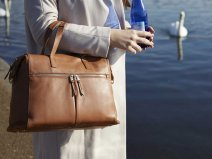 Knomo Audley Leather Tote Laptoptas 14 inch (Caramel)