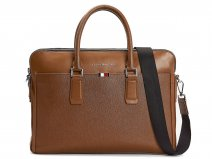 Tommy Hilfiger Business Slanke Laptoptas Cognac Leer